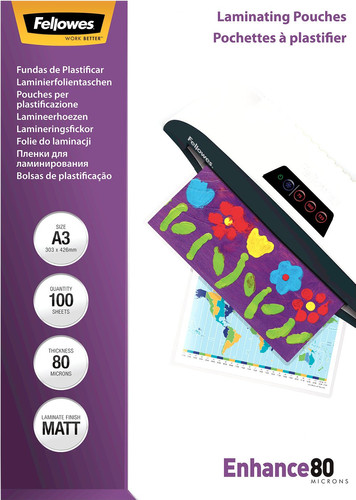 Fellowes Laminator covers Enhance Mat 80 mic A3 (100 Pieces) Main Image