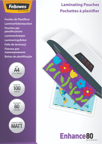 Fellowes Laminator covers Enhance Mat 80 mic A4 (100 Pieces) Main Image