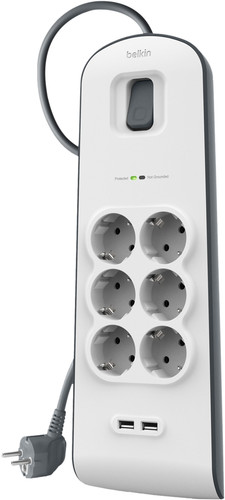 Belkin Surge Protector 6 outlet 2 meter 2x usb Main Image