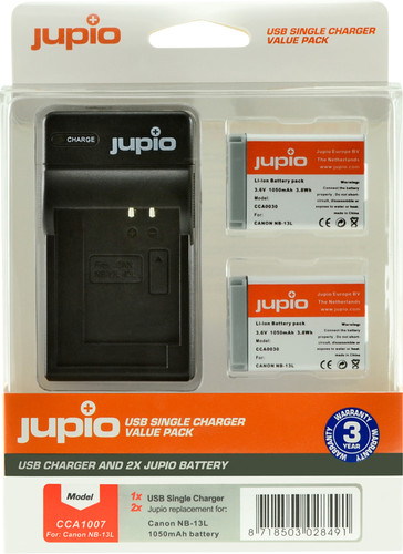 Jupio Kit: Battery NB-13L (2x) + USB Single Charger Main Image