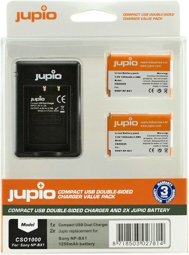 Jupio Kit: Battery NP-BX1 (2x) + USB Double-Sided Charger Main Image