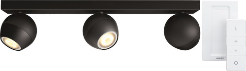 Philips Hue Buckram 3-Spot Black with Dimmer Main Image