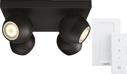 Philips Hue Buckram 4-Spot Black with Dimmer Main Image