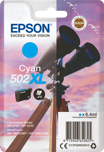 Epson 502XL Cartridge Cyan Main Image