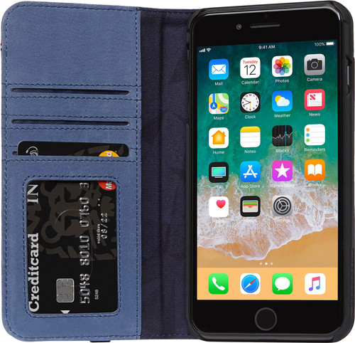 Decoded Leather Wallet Case iPhone 8 Plus/ 7Plus Blauw Main Image