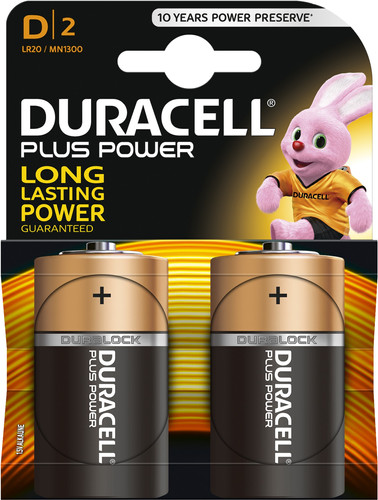 Duracell Plus Power alkaline D batteries 2 pieces Main Image