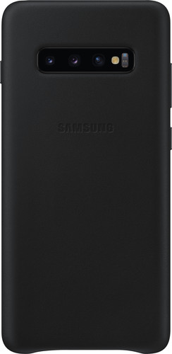 Samsung Galaxy S10 Plus Leather Back Cover Zwart Main Image