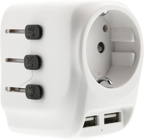 BlueBuilt All-in-one Travel Adapter USB White Main Image