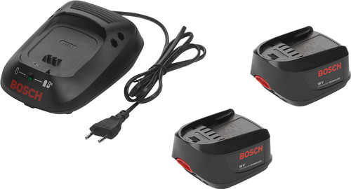 Second Chance Bosch 18V 1.3-Ah Li-Ion Battery (2x) + Battery Charger Main Image