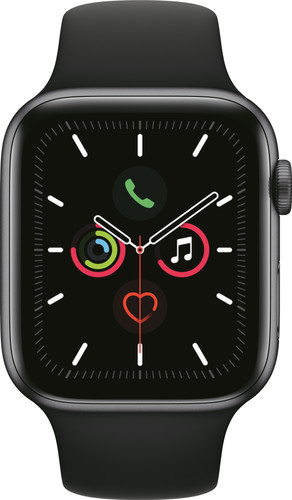 Apple Watch Series 5 44mm Space Gray Aluminium Zwarte Sportband Main Image