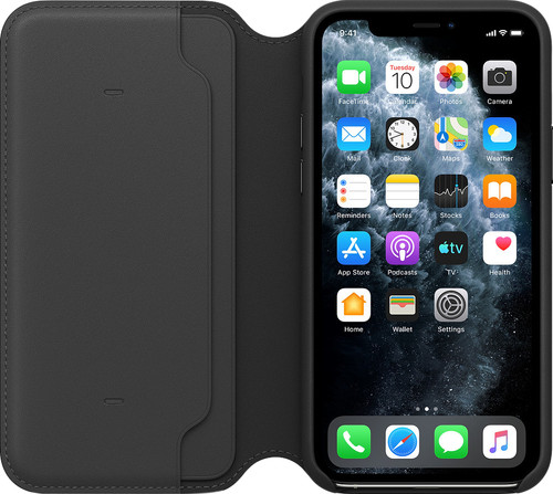 Apple iPhone 11 Pro Max Leather Folio Zwart Main Image
