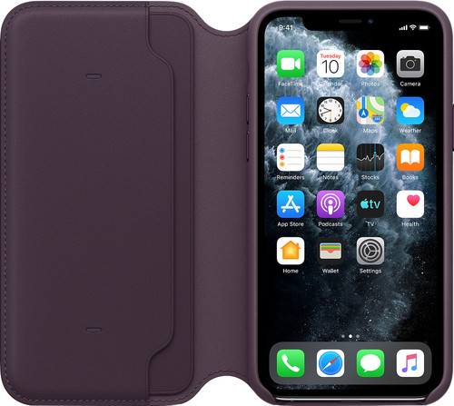 Apple iPhone 11 Pro Max Leather Folio Aubergine Main Image
