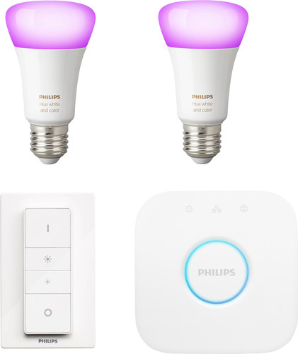 Philips Hue White & Colour Starter Pack E27 met 2 lampen + 1 dimmer Main Image