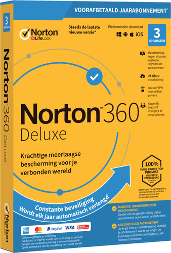 Norton 360 Deluxe 2020 | 3 Devices | 1 Year | 25GB | Windows/Mac/Android/iOS Main Image