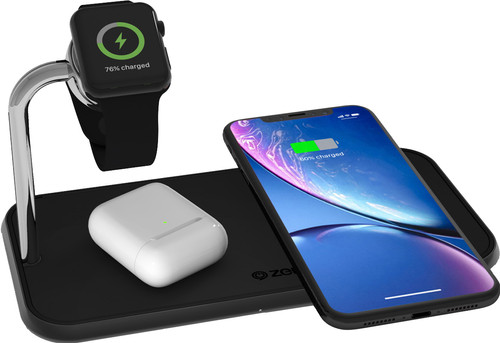 ZENS Dual & Apple Watch Aluminum Wireless Charger 10W Black Main Image