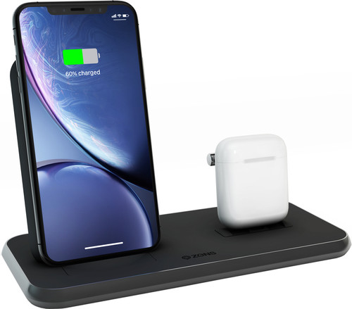 Zens Wireless Charger 10W with Stand and AirPods Dock Black Main Image