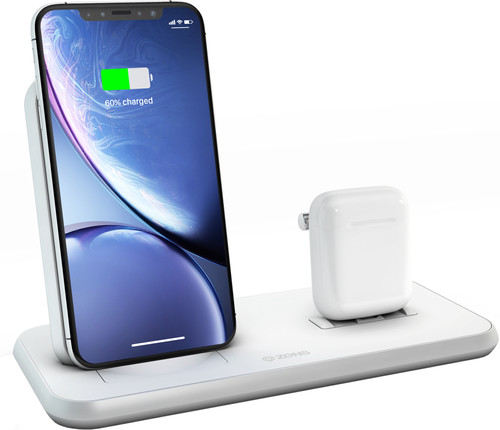 Zens Wireless Charger 10W with Stand and AirPods Dock White Main Image