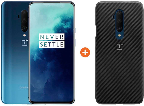 OnePlus 7T Pro 256GB Blauw + OnePlus Karbon Bumper Case Back Cover Zwart Main Image