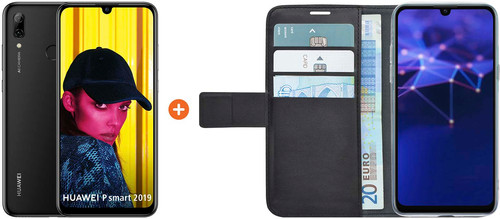 Huawei P Smart (2019) Black + Azuri Wallet Magnetic Book Case Black Main Image