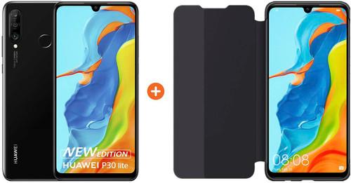Huawei P30 Lite New Edition 256GB Zwart + Huawei View Flip Cover Book Case Zwart Main Image
