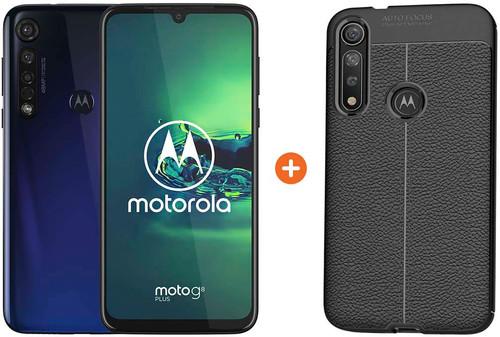 Motorola Moto G8 Plus Blauw + Just in Case Soft Design Back Cover Zwart Main Image