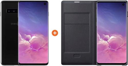 Samsung Galaxy S10 128GB Zwart + Samsung Led View Cover Book Case Zwart Main Image