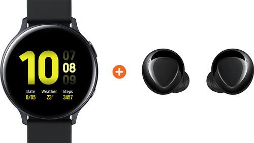 Samsung Galaxy Watch Active2 Zwart 44 mm Aluminium + Galaxy Buds Plus Zwart Main Image