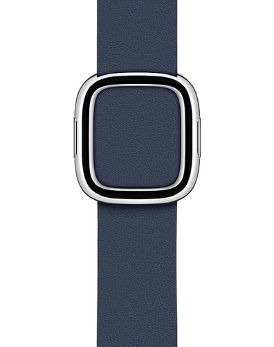 Apple Watch 38/40 mm Modern Leren Horlogeband Diepzeeblauw - Small Main Image