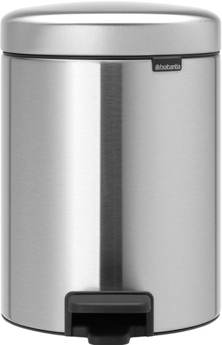 Brabantia Newlcon Pedal Trash Can 2x2 Liters with 2 Plastic Interior Cans - Matte Steel Main Image