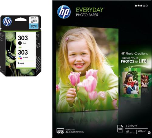 HP 303 Cartridges Combo Pack + 100 vellen A4 fotopapier Main Image