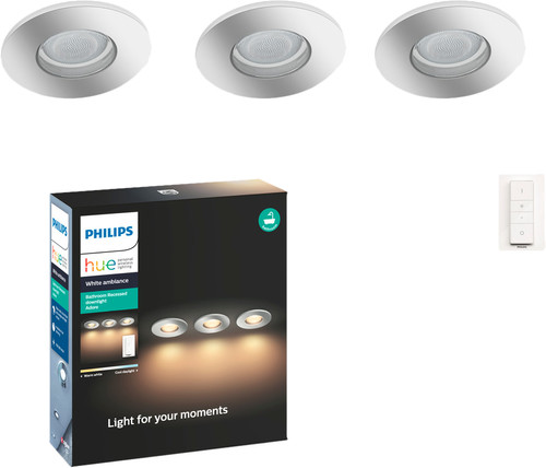 Philips Hue Adore Bathroom Recessed Spot Light 3-pack + Wireless Dimmer Main Image