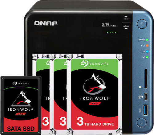 QNAP TS-453Be 4GB + 1x 480GB SSD + 3x 3TB HDD Main Image