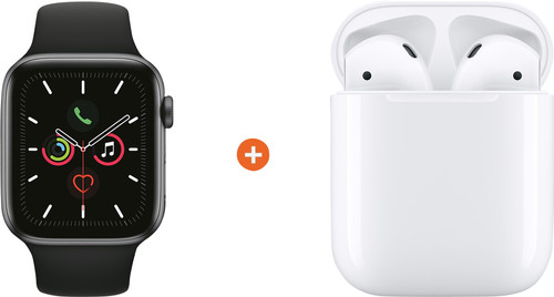 Apple Watch Series 5 40mm Space Gray Zwarte Sportband + Apple AirPods 2 Main Image