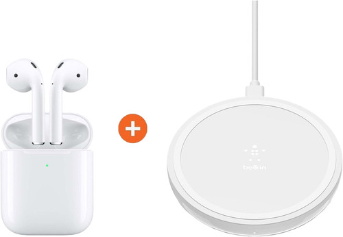 Apple AirPods 2 with wireless charging case + Belkin Boost Up Wireless Charger 10W White Main Image