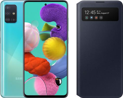 Samsung Galaxy A51 Blue + Samsung S View Wallet Cover Black Main Image
