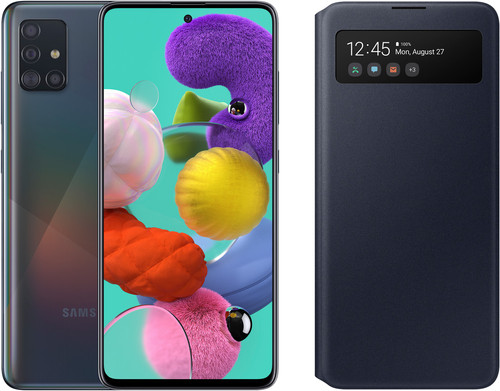 Samsung Galaxy A51 Zwart + Samsung S View Wallet Cover Zwart Main Image