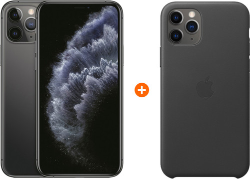 Apple iPhone 11 Pro 256 GB Space Gray + Apple iPhone 11 Pro Leather Back Cover Zwart Main Image