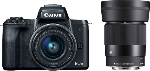 Canon EOS M50 Zwart + 15-45mm IS STM + Sigma 30mm f/1.4 DC DN Main Image