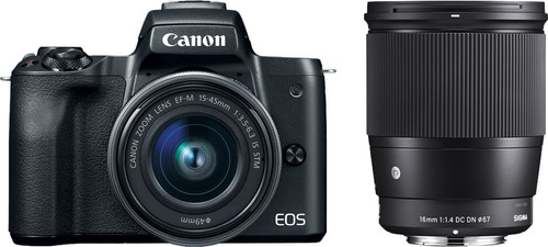 Canon EOS M50 Zwart + 15-45mm IS STM + Sigma 16mm f/1.4 DC DN Main Image