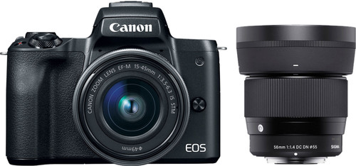 Canon EOS M50 Zwart + 15-45mm IS STM + Sigma 56mm f/1.4 DC DN Main Image