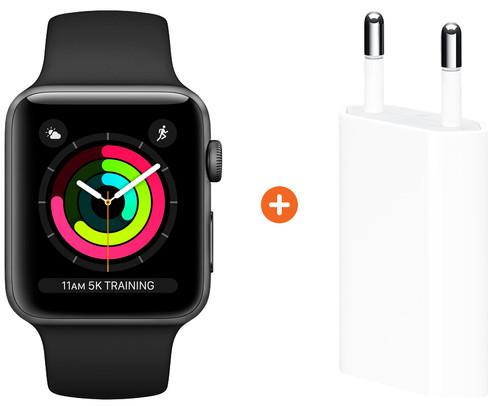 Apple Watch Series 3 42mm Space Gray Aluminium/Zwart + Apple USB Power Adapter Main Image