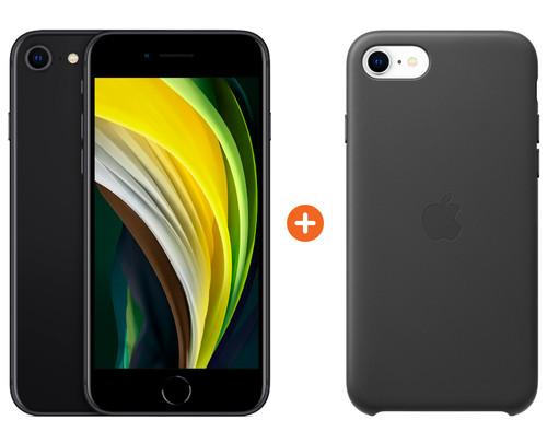 iPhone SE 64 GB Zwart + Apple iPhone SE Leather Back Cover Main Image