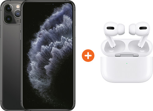 Apple iPhone 11 Pro Max 256 GB Space Gray + Apple AirPods Pro met Draadloze Oplaadcase Main Image