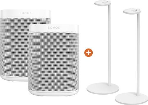 Sonos One SL Duopack + Sonos Speaker Standaard Paar Wit Main Image