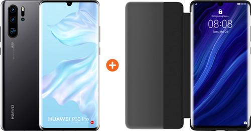 Huawei P30 Pro 128GB Zwart + P30 Pro View Flip Cover Book Case Zwart Main Image