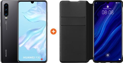 Huawei P30 Zwart + P30 Flip Cover Book Case Zwart Main Image