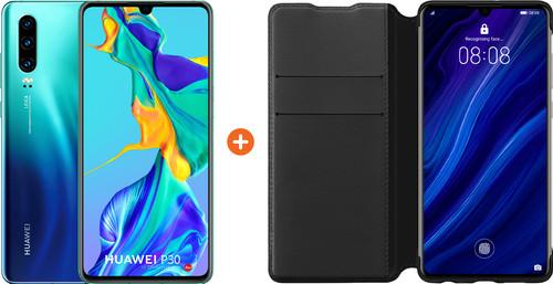 Huawei P30 Blauw + P30 Flip Cover Book Case Zwart Main Image