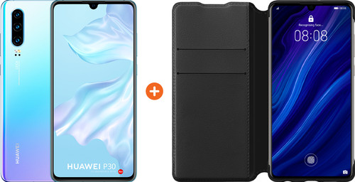 Huawei P30 Wit/Paars + P30 Flip Cover Book Case Zwart Main Image