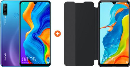 Huawei P30 Lite 128GB Blauw + P30 Lite View Flip Cover Book Case Zwart Main Image