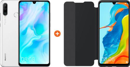 Huawei P30 Lite 128GB Wit + P30 Lite View Flip Cover Book Case Zwart Main Image